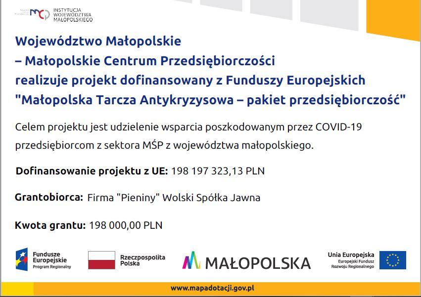 """Realizacja projektu """"Małopolska Tarcza Antykryzysowa – pakiet przedsiębiorczość"""""""